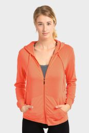24 Units of Women's Lightweight Zip Up Hoodie Jacket Coral - Womens Active Wear