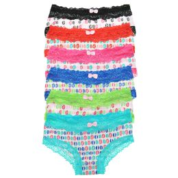 72 Units of Angelina Cotton Hiphugger Panties With Lip Print Design - Womens Panties & Underwear