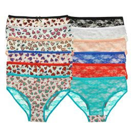 72 Units of Angelina Cotton Hiphuggers Panties with Heart Print Design - Womens Panties & Underwear