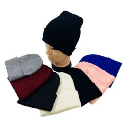 48 Units of Cuffed Knitted Beanie Hat - Winter Beanie Hats