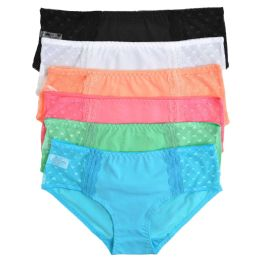 72 Units of Angelina Cotton Hiphugger Panties with Heart Mesh Lace - Womens Panties & Underwear