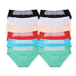 72 Units of Angelina Cotton Bikini Panties with Heart Print Design - Womens Panties & Underwear