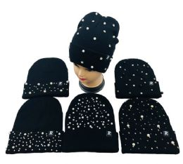 48 Units of Pearls & Rhinestones Knitted Cuffed Hat - Winter Beanie Hats