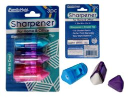 144 Units of 3pc Sharpener With Eraser Tip - Sharpeners