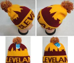 24 Units of Cleveland Knitted Hat With Pom Pom - Winter Beanie Hats
