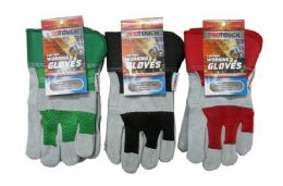 24 Units of Leather Work Gloves - Working Gloves
