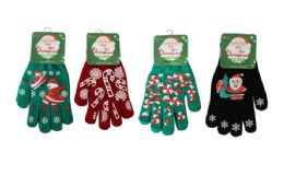 48 Units of Christmas Stretch Gloves - Christmas Novelties