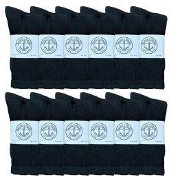 12 Units of Yacht & Smith Mens Wholesale Bulk Cotton Socks, Athletic Sport Socks Shoe Size 8-12 (Black, 12) - Mens Crew Socks