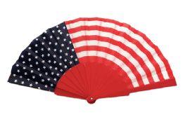 48 Units of Folding Fan USA Flag - 4th Of July