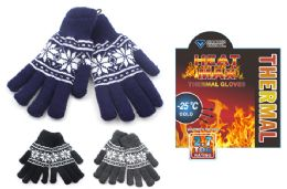 24 Units of Insulated Stretch Snow Flake Printed Gloves - Winter Gloves