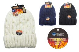 24 Units of Ladies Knit Thermal Hat - Winter Beanie Hats