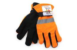 24 Units of Orange Polar Fleece Reflective Safety Gloves - Winter Gloves