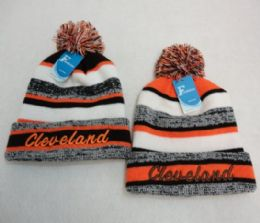 48 Units of Cleveland Stripes Knitted Hat With Pom Pom - Winter Beanie Hats