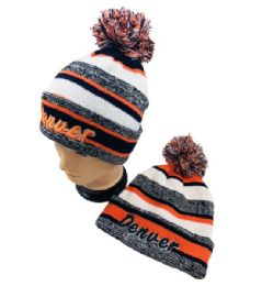 48 Units of Denver Knitted Hat With Pom Pom Embroidered Stripes - Winter Beanie Hats