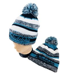 24 Units of Philadelphia Knitted Hat With Pom Pom - Winter Beanie Hats