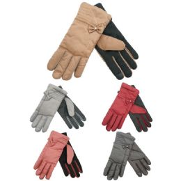 72 Units of Ladies Fashion Texting Gloves With Bow Design - Conductive Texting Gloves