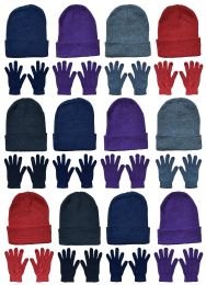 24 Units of Yacht & Smith Womens Warm Winter Hats And Glove Set 24 Pieces - Winter Care Sets