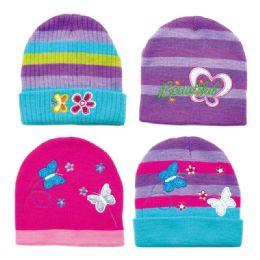 36 Units of Girls Printed Winter Hats - Winter Hats
