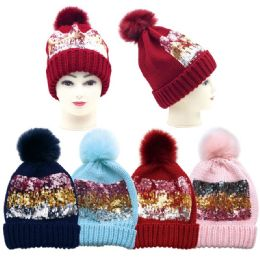 36 Units of Women's Fashion Knitted Hat With Pompom - Winter Hats
