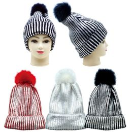 36 Units of Women's Fashion Knitted Metallic Hat With Pom Pom - Winter Hats