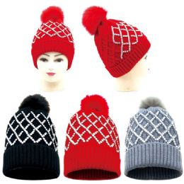 36 Units of Women's Fashion Beaded Hat With Pom Pom - Winter Hats