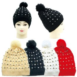 36 Units of Women's Fashion Studded Hat With Pom pom - Winter Hats