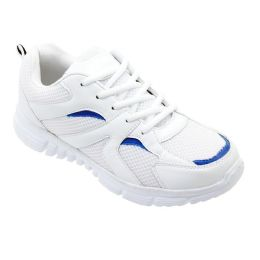 12 Units of Men's Lightweight Running Sneakers In White And Royal Blue - Men's Sneakers