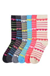 180 Units of Women's Crew Socks L.weight Heart And Stripe Design - Womens Crew Sock