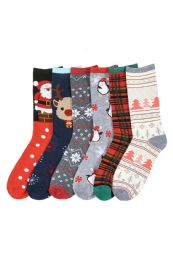 180 Units of Women's Christmas Printed Crew Socks - Womens Crew Sock