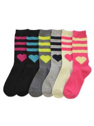 180 Units of Women's Heart Printed Crew Socks - Womens Crew Sock