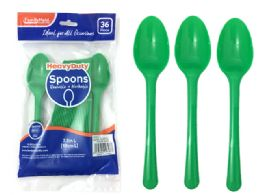 48 Units of 36pc Heavy Duty Green Spoons - Disposable Cutlery