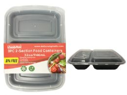 24 Units of 3 Piece 2 Section Food Container - Food Storage Containers