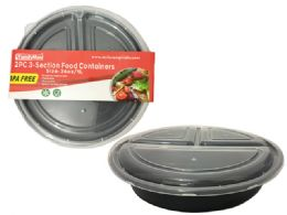 24 Units of 2pc Round 3-Section Food Container - Food Storage Containers