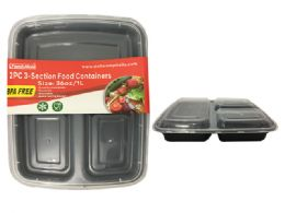 24 Units of 2 Piece 3 Section Rectangular Food Container - Food Storage Containers