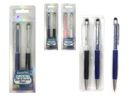 144 Units of 2pc Crystal Ball Point Pen W/ Stylus - Pens