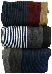 15 Units of Yacht&Smith 3 Pack Mens Designer Winter Scarves, Stripe Patterned Neck Scarf - Price Per 3 - Winter Scarves