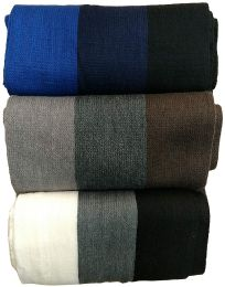 15 Units of Yacht&Smith 3 Pack Mens Designer Winter Scarves, Stripe Patterned Neck Scarf Price Per 3 - Winter Scarves