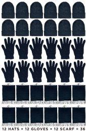 36 Units of Yacht & Smith 3 Piece Winter Set, Hat Glove Fleece Scarf Unisex (Black, 36 Sets) - Winter Care Sets