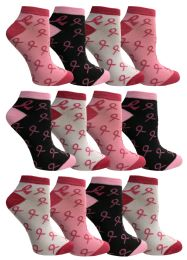 12 Units of Yacht & Smith Pink Ribbon Breast Cancer Awareness Ankle Socks for Women - Breast Cancer Awareness Socks