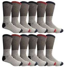 12 Units of Yacht & Smith Womens Cotton Thermal Crew Socks, Cold Weather Boot Sock, Size 9-11 - Womens Thermal Socks