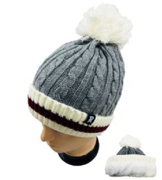24 Units of Knitted PlusH-Lined Pom Pom Hat - Winter Helmet Hats