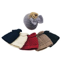 36 Units of Large Knit Pony Tail Beanie with Bow - Winter Sets Scarves , Hats & Gloves