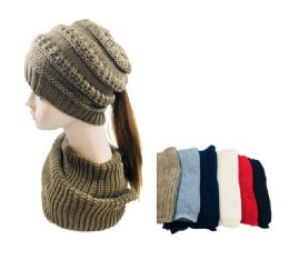 24 Units of Knitted Pony Tail Beanie/Neck Warmer Combo - Winter Sets Scarves , Hats & Gloves