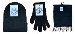 180 Units of Yacht & Smith Unisex 3 Piece Winter Care Set, Black Beanie Hat, Black Magic Gloves And Black Fleece Scarf - Winter Care Sets