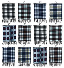 12 Units of Yacht & Smith Unisex Warm Winter Plaid Fleece Scarfs Assorted Colors Size 60x12 - Winter Scarves