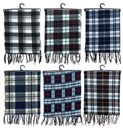 6 Units of Yacht & Smith Unisex Warm Winter Plaid Fleece Scarfs Assorted Colors Size 60x12 - Winter Scarves