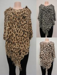 6 Units of Cheetah Print Knitted Shawl with Fringe - Winter Pashminas and Ponchos
