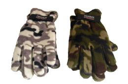 48 Units of Camo Polar Fleece Gloves - Winter Gloves