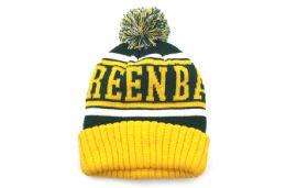 24 Units of Green Bay Knit Pom Pom Hat - Winter Beanie Hats