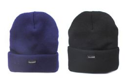 12 Units of Heavy Knit Insulated Hat Blue And Black - Winter Beanie Hats